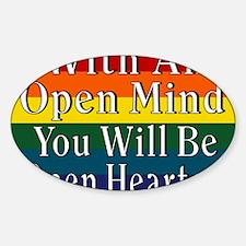 Open Mind outline full Rainbow tshi Sticker (Oval)