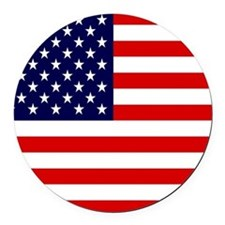 American USA Flag Round Car Magnet