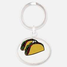 2 tacos are better than 1 4 darks Oval Keychain