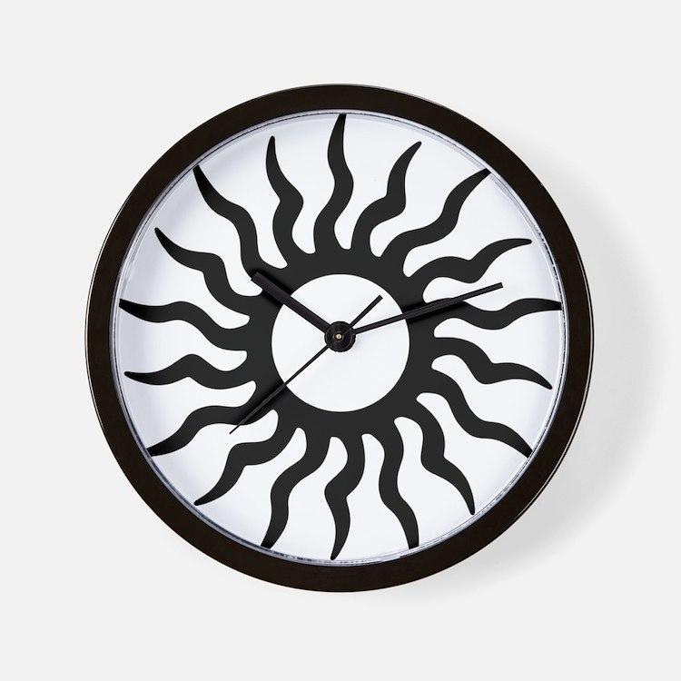 Tribal Sun Icon Wall Clock