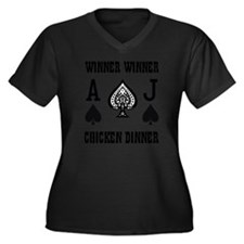 winner1A Women's Plus Size Dark V-Neck T-Shirt