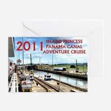 Panama Canal - rect. photo with boar Greeting Card