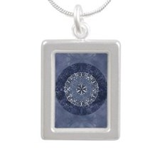 Flower of Life_Blue_5x8_ Silver Portrait Necklace