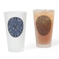 Flower of Life_Blue_11x11_pillow Drinking Glass