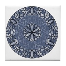 Flower of Life_Blue_11x11_pillow Tile Coaster