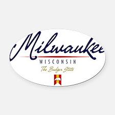 Milwaukee Script W Oval Car Magnet