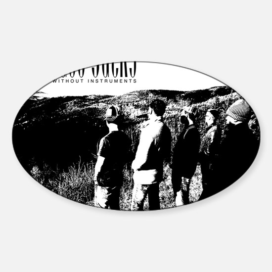 Black and White Hill Sticker (Oval)