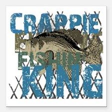 "crappie fishing king Square Car Magnet 3"" x 3"""