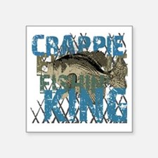 "crappie fishing king Square Sticker 3"" x 3"""