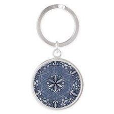 Flower of Life_Blue_ornament Round Keychain