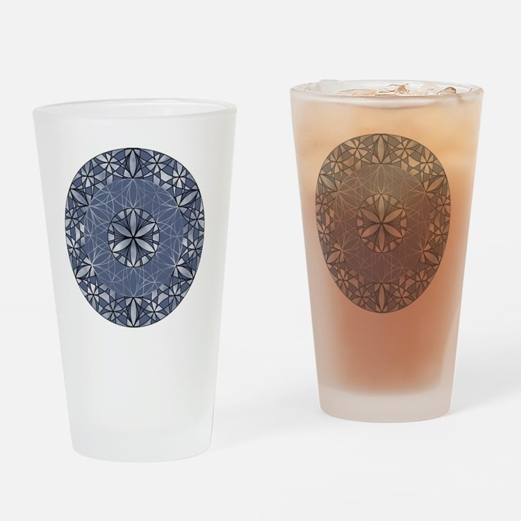 Flower of Life_Blue_ornament Drinking Glass