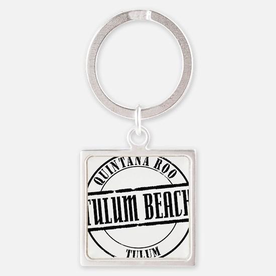Tulum Beach Title W Square Keychain