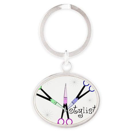Stylist 3 scissors Oval Keychain