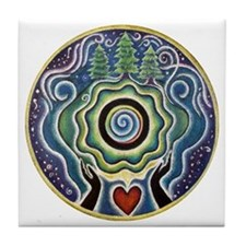 Earth Blessing Mandala Tile Coaster