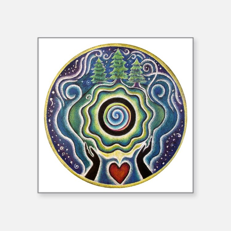 "Earth Blessing Mandala Square Sticker 3"" x 3"""