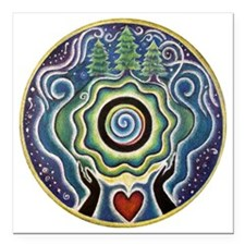 "Earth Blessing Mandala Square Car Magnet 3"" x 3"""
