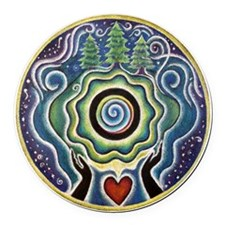 Earth Blessing Mandala Round Car Magnet