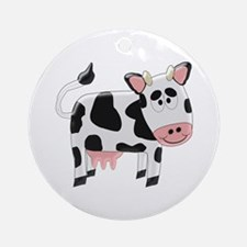 Black And White Cow Ornament (Round)
