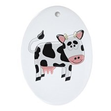 Black And White Cow Ornament (Oval)