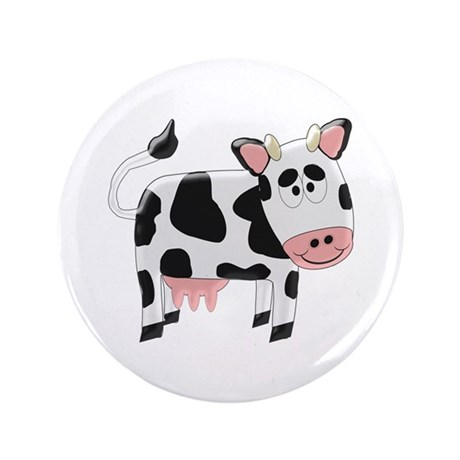 """Black And White Cow 3.5"""" Button"""