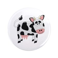 """Black And White Cow 3.5"""" Button (100 pack)"""