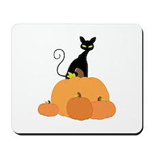 Cat And Pumpkins Mousepad