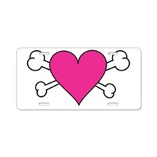 Skull Heart Aluminum License Plate