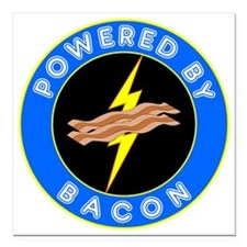 """powered by bacon chip 8 Square Car Magnet 3"""" x 3"""""""