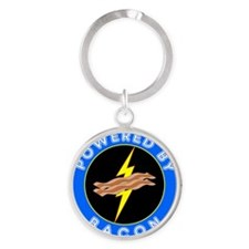 powered by bacon chip 8 Round Keychain