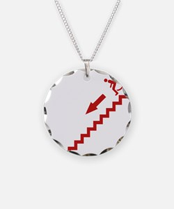 stairs Necklace Circle Charm