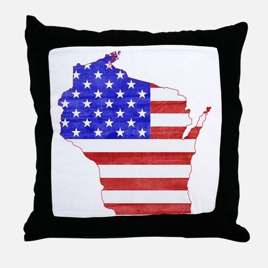 Wisconsin Flag Throw Pillow