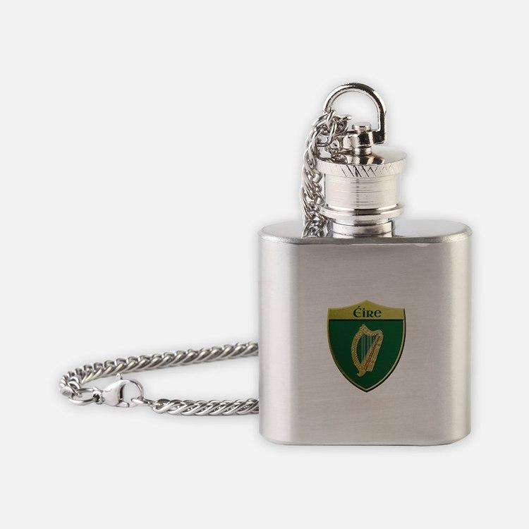 Ireland Metallic Shield Flask Necklace