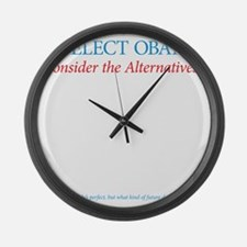 O44+4: Re-Elect Obama (back) Large Wall Clock