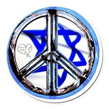 peace_heart_jewish_star Round Car Magnet