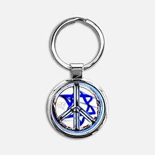 peace_heart_jewish_star Round Keychain