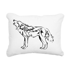 tribal_howling_wolf Rectangular Canvas Pillow