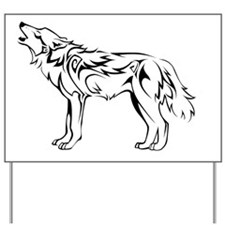 tribal_howling_wolf Yard Sign