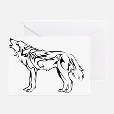 tribal_howling_wolf Greeting Card