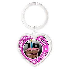 Birthday-Button-16 Heart Keychain