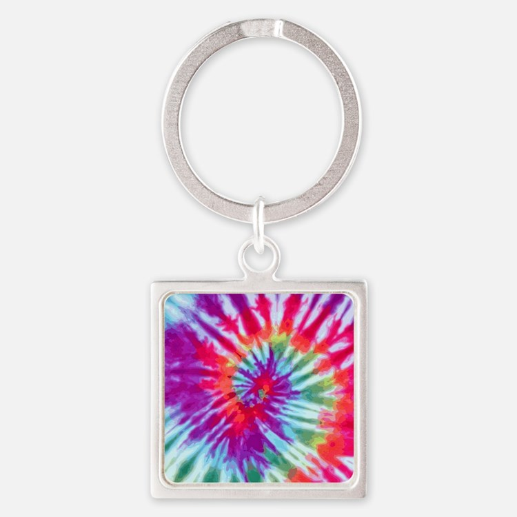 Pink Spiral NC Square Keychain