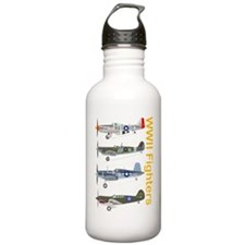 WWIIFighters_Dk_Front Water Bottle