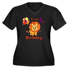 lion1stBirth Women's Plus Size Dark V-Neck T-Shirt