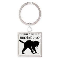 CAT CRAP - WHITE Square Keychain