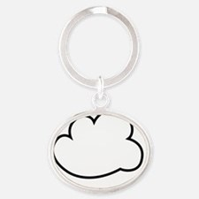 Cloud white text Oval Keychain