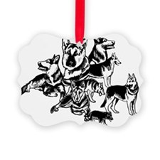 black and white GSD collage Picture Ornament