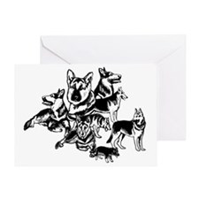 black and white GSD collage Greeting Card