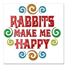 "rabbit Square Car Magnet 3"" x 3"""
