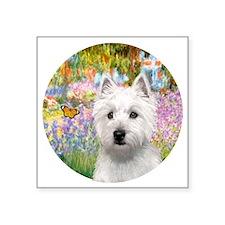 """J-ORN-Garden-Westie-P Square Sticker 3"""" x 3"""""""