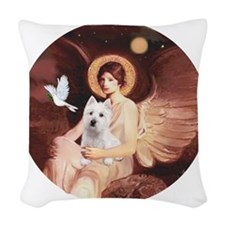 J-ORN-Angel1-Westie-P Woven Throw Pillow