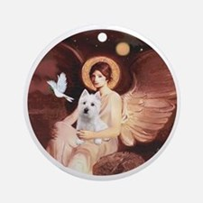 J-ORN-Angel1-Westie-P Round Ornament